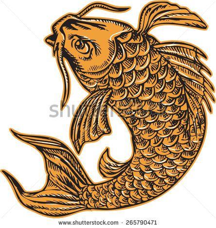 Etching engraving handmade style illustration of a koi carp nishikigoi fish jumping viewed from side set on isolated background.