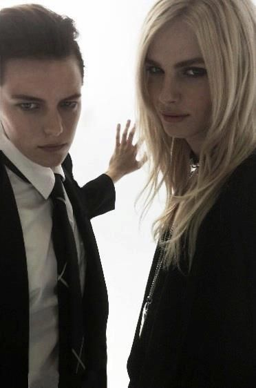 "Erika Linder and Andrej Pejic.  Behind the scenes of Battle of The Sexes   ""FORWARD by Elyse Walker""  Photo from Lee Williams"