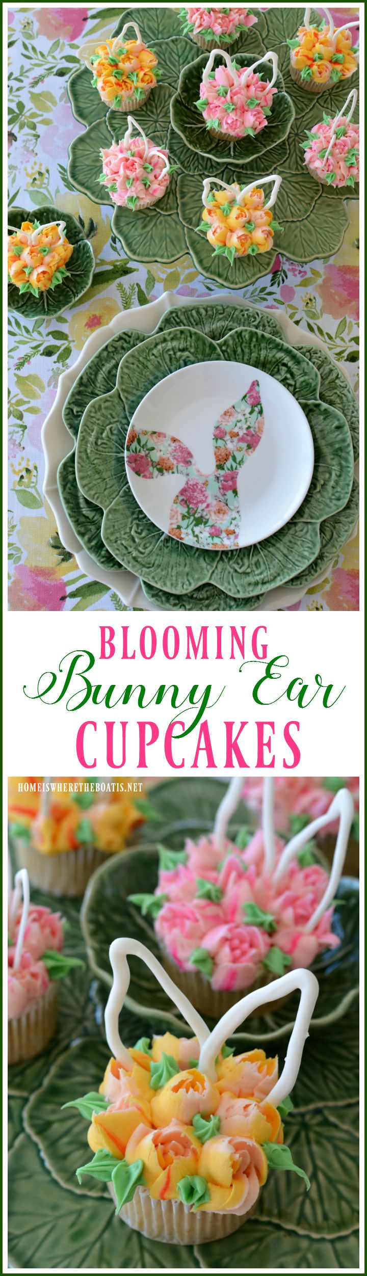 Blooming Bunny Ear Cupcakes | homeiswheretheboatis.net #Easter