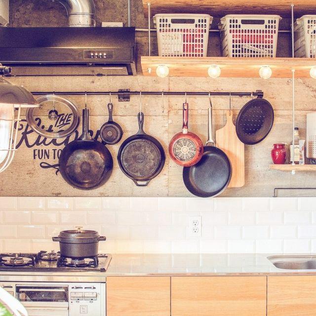 mrito1952さんの、キッチン,無印良品,照明,ナチュラル,アンティーク,リビング,DIY,模様替え,インダストリアル,ヴィンテージ,キッチン収納,リノベーション,スキレット,のお部屋写真