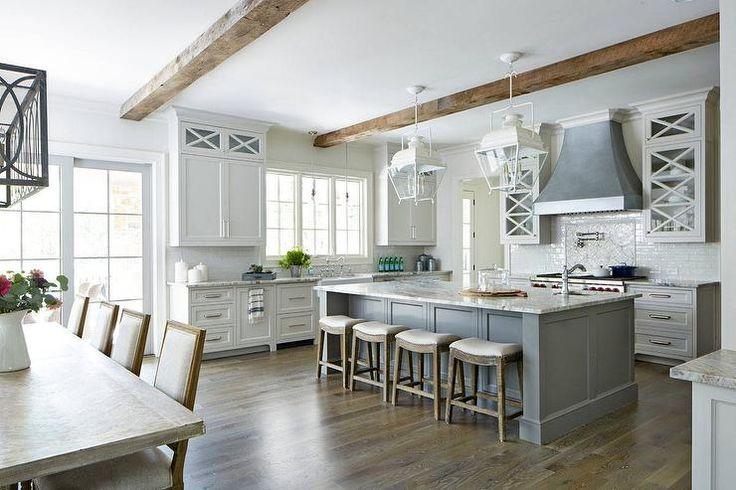 Gorgeous Gray And White Transitional Kitchen With Rustic