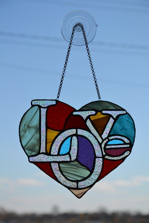Heart suncatcher Stained glass window hanging Glass garden decor Love suncatcher