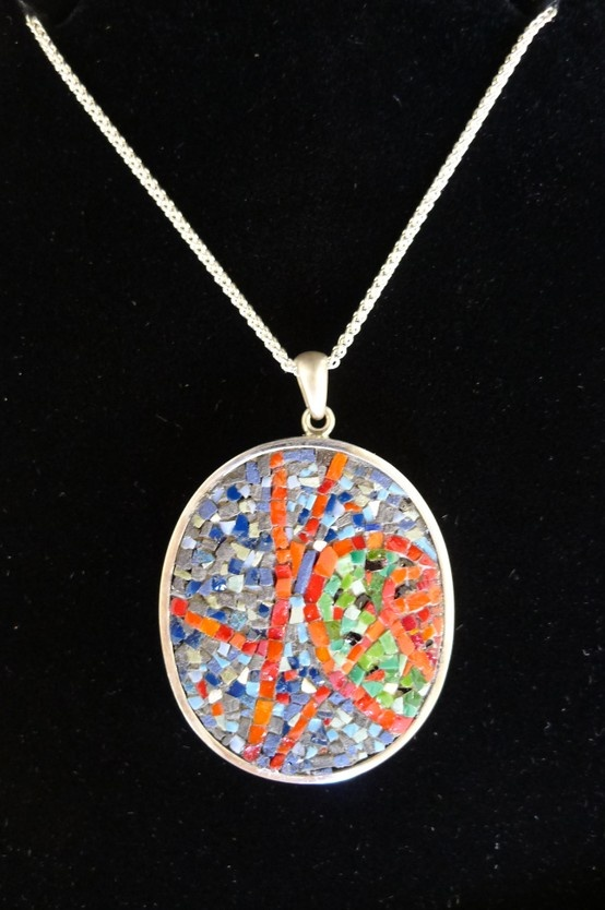 Micro mosaic pendant, 'Inspired by Chris Ofili' - Natural and manmade stone and Italian 'smalti' in a silver pendant.