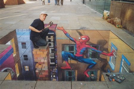 Julian Beever is an English artist who's famous for his art on the pavements of England, France, Germany, USA, Australia and Belgium     Beever gives to his drawing an anamorphous look  His images are drawn completely deformed which give a 3D image when viewed at the right angle