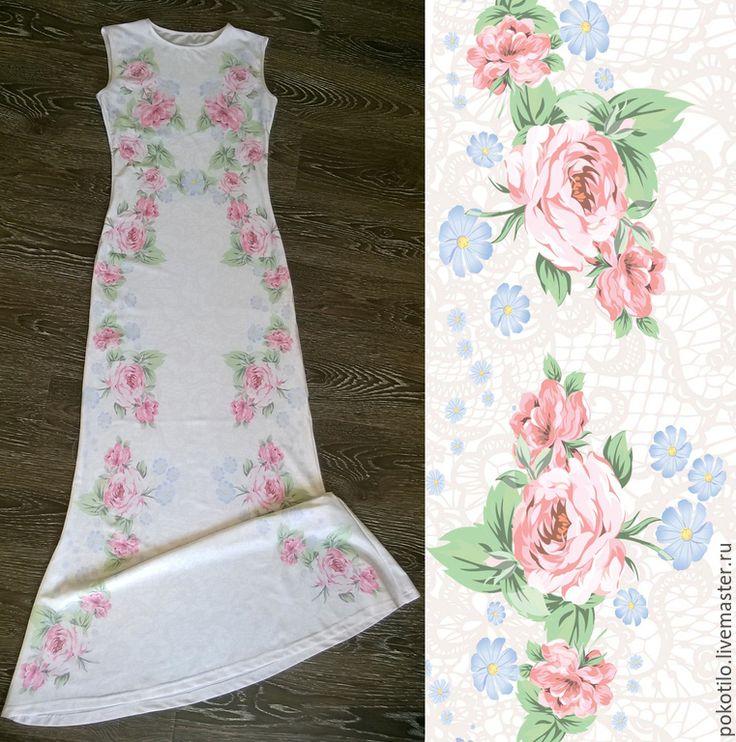 Купить Платье макси белое жемчужное с розами - белый, свадебное платье, Платье нарядное