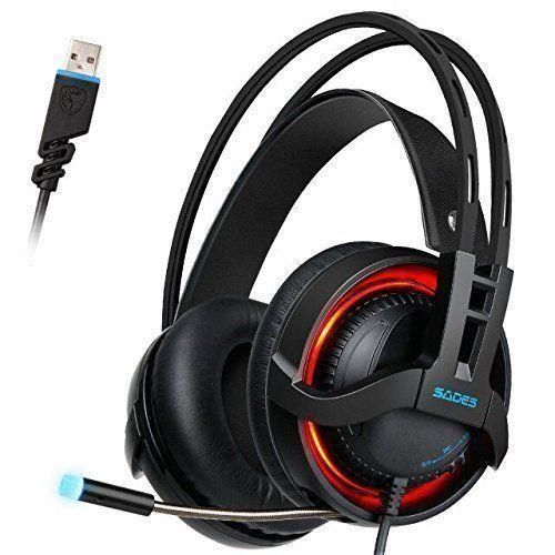 SADES R2 Virtual 7.1 Channel Surround Sound headphones with Retractable Mic USB
