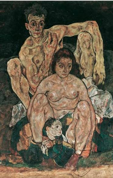 "(detail) Painting by Egon Schiele, 1918, ""The Family (Squatting Couple),"" oil on…"