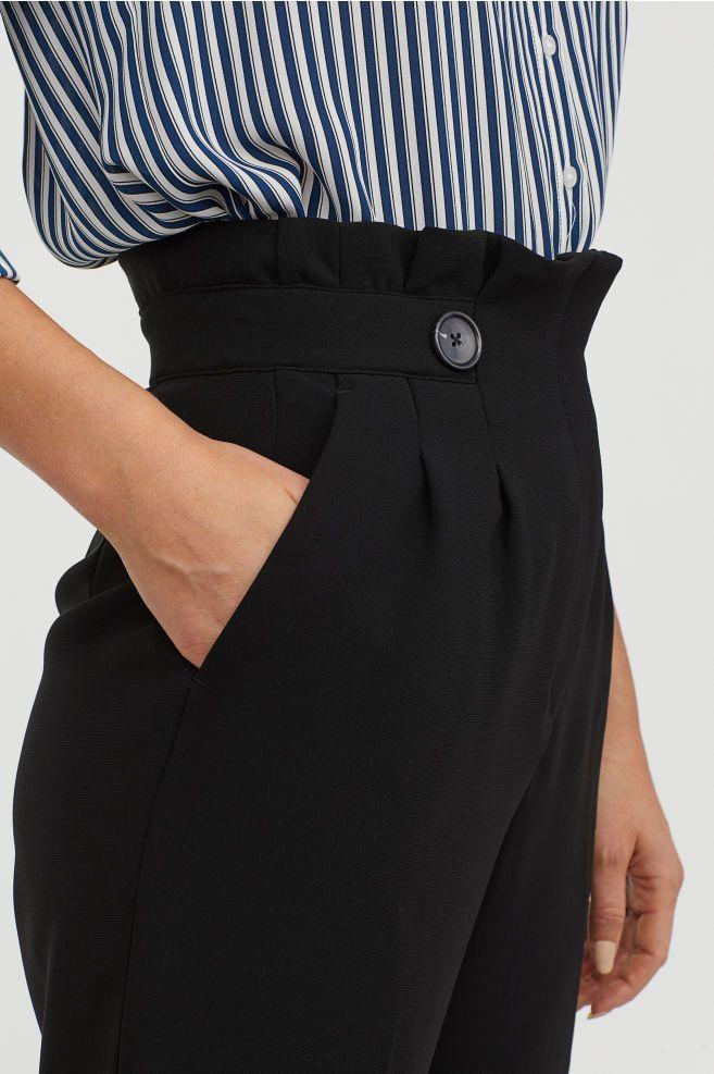 Paperbagbroek   Fashion, Black pants, Work attire