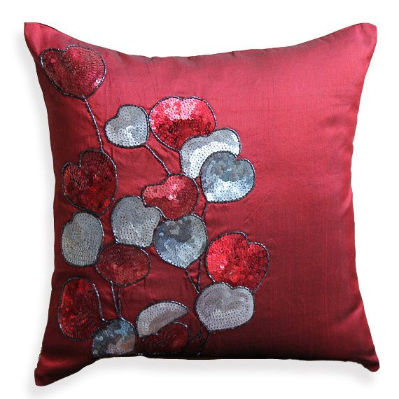 Handmade Red Decorative Pillow Cover 16x16 Silk
