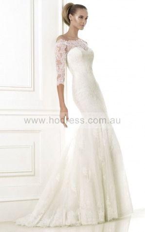 Mermaid Half-Sleeves Off The Shoulder Buttons Floor-length Wedding Dresses fcaf1016--Hodress