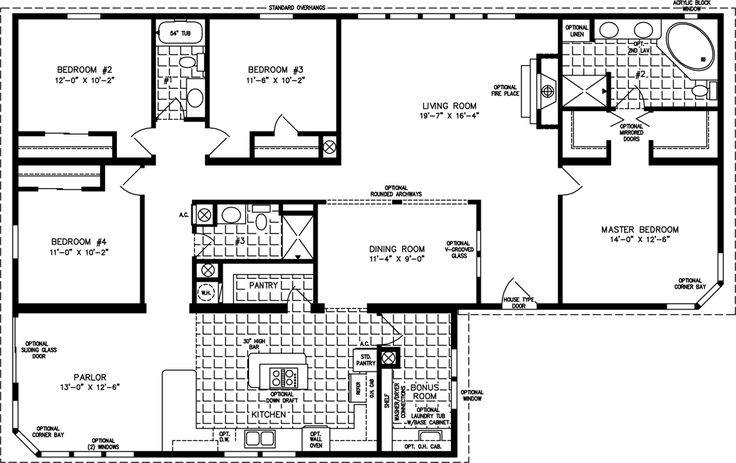 Triple wide mobile home floor plans images of for 4 bedroom cabin floor plans