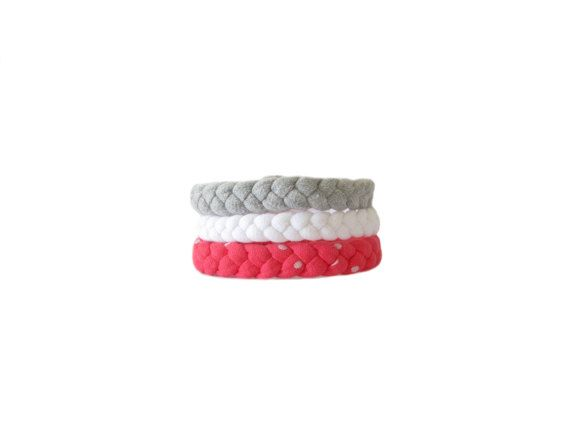 Handmade braided bracelets made from white, grey and hot pink cotton t shirt yarn. This is one size fits all. Width braids: approx. cm. 1 Inside circumference: approx. cm. 5  They are soft and comfortable to wear, easily goes with an outfit young and casual.