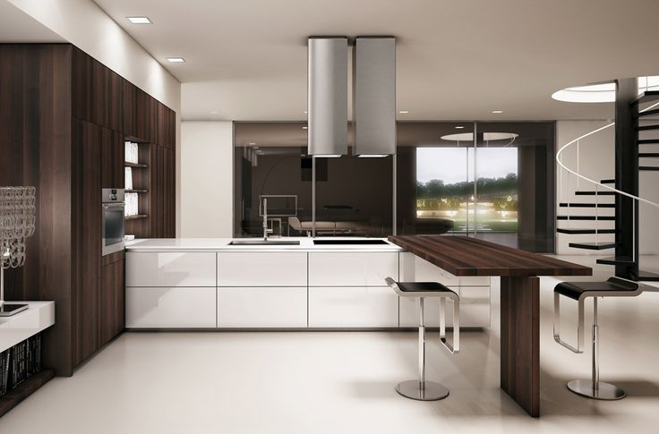 SCIC's Monforte model harmoniously blends first quality materials such as maple, oak, acacia and larch. #sciccucine