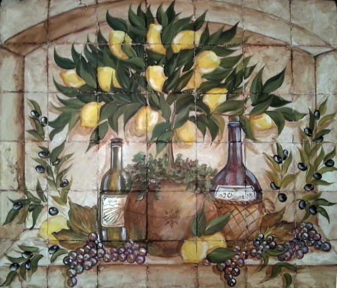 Italian lemon topiary tile mural tre sorelle hand for A mural is painted on a