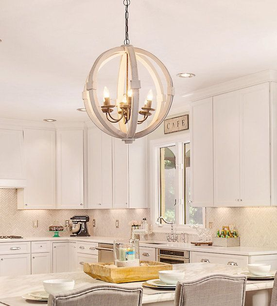 Antiqued white distressed cottage wood orb chandelier for French country kitchen chandelier