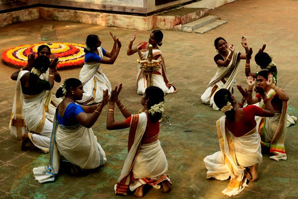 Thiruvathirakali is a dance performed by women, in order to attain everlasting marital bliss, onThiruvathira day in the Malayalam month of Dhanu