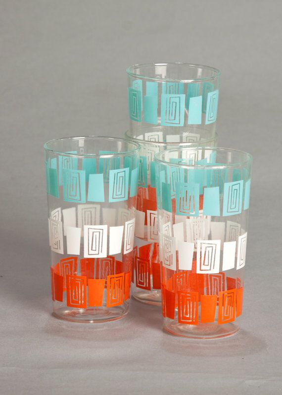 Mid-Century - Retro Atomic Glass Drinking Cups #midcentury #retro #tableware
