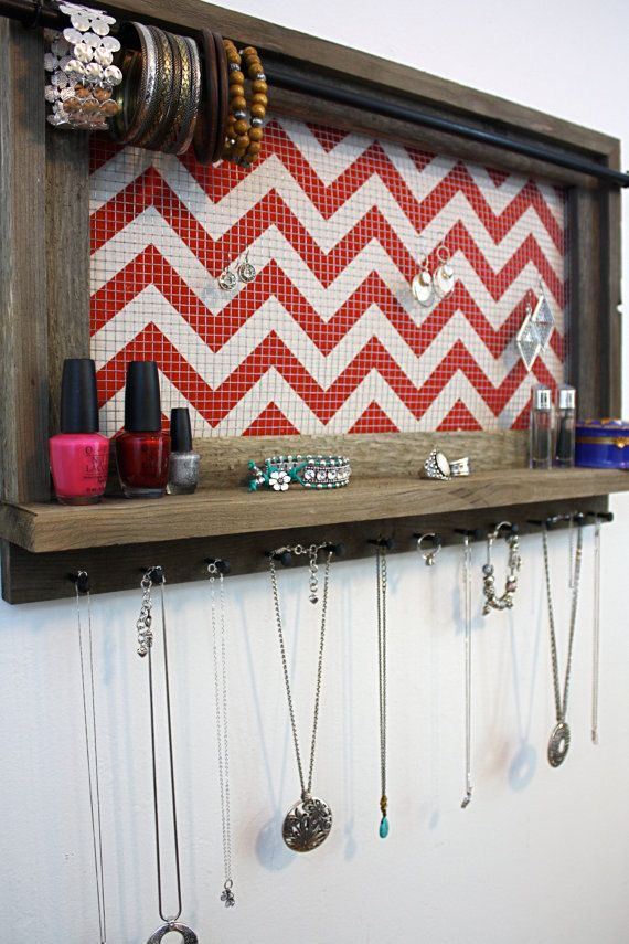 ON SALE Red Chevron Jewelry Organizer Barnwood by HudsonLace