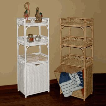 Tall Wicker Shelf with Pull Out Hamper via @wickerparadise #bathroom #shelf #wicker #hamper www.wickerparadise.com