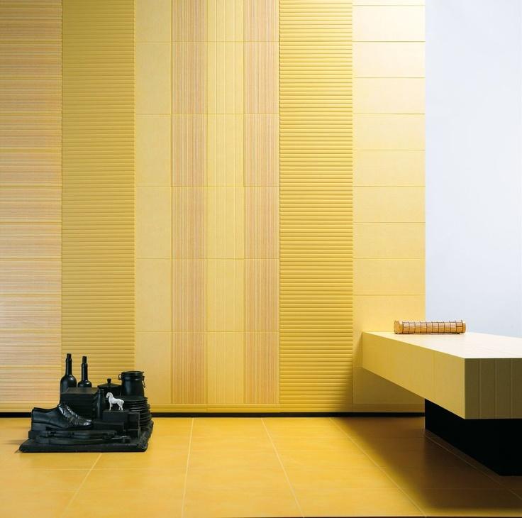 #Marazzi Folk | #Yellow ceramic tiles bathroom wall covering(Found at Cascade Lumber Co. Cascade Iowa)