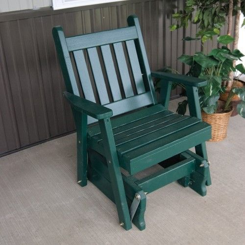 A & L Furniture Yellow Pine Traditional English 2 ft. Outdoor Glider Chair, Walnut Stain