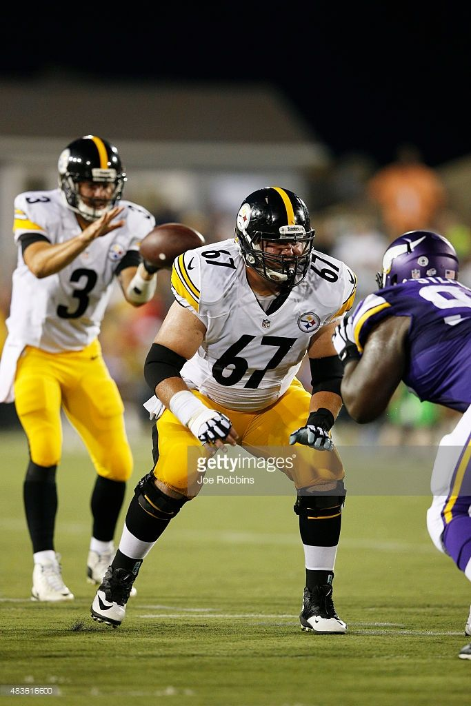 B.J. Finney #67 of the Pittsburgh Steelers in action against the Minnesota Vikings during the NFL Hall of Fame Game at Tom Benson Hall of Fame Stadium on August 9, 2015 in Canton, Ohio.