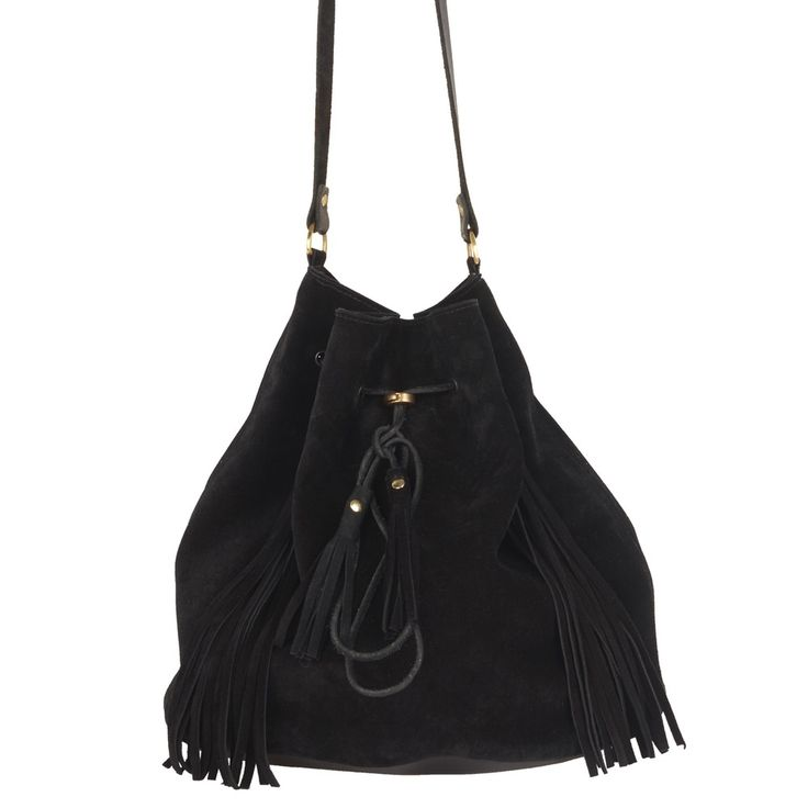 Sarah Baily | Kelly Bucket Bag - Black suede