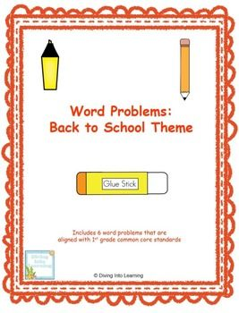 Freebie! Word Problems: Back to School Theme (First Grade). Includes 6 word problems. #TPT #math #first grade