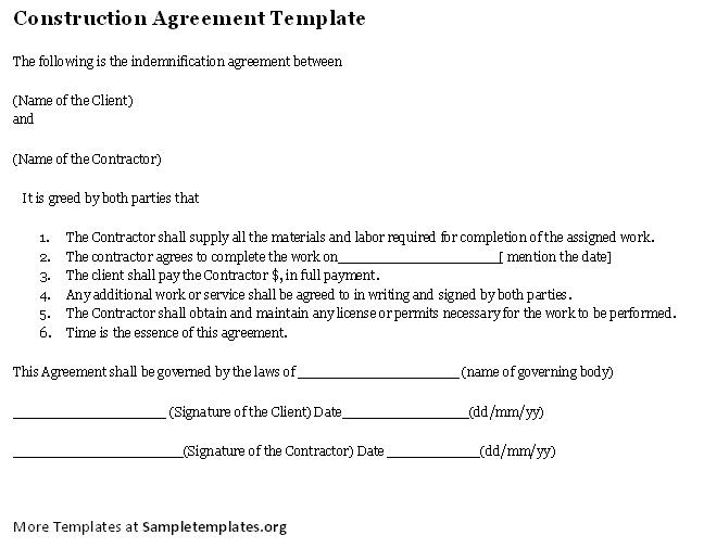 Construction Agreement Template #Construction #Agreement #Template