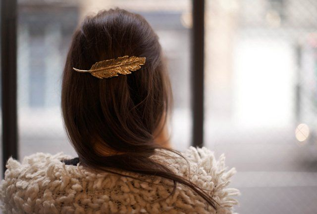 Gold Feather Barrette