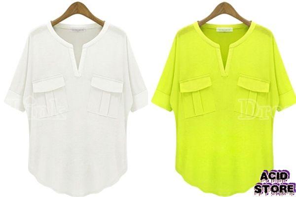 Camisa cuello en V Color Blanco - Verde  Talla XS - S - M - L $ 48.000