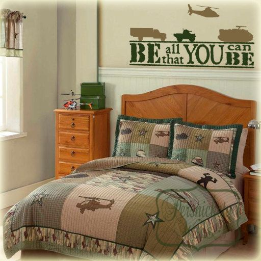Be all that you can be - army vinyl wall quote with four Army vehicle decals - Choose two Colors - Perfect for Camouflage or Army bedroom