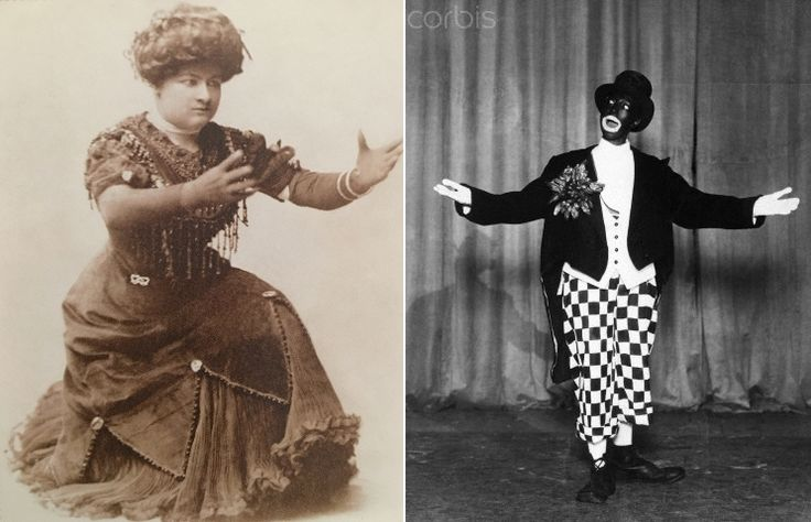 Sophie Tucker made up 'high yellow' and Josephine Baker made up in 'burnt cork', early 1910s
