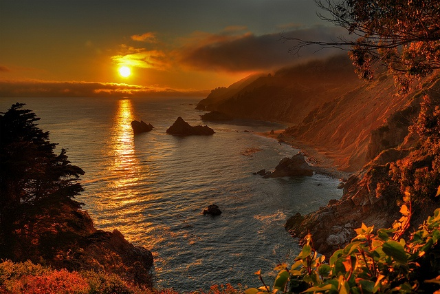 Sunset over the Pacific-McWay Falls, CA