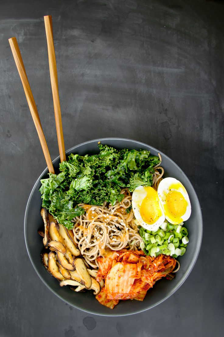 Make a soba noodle bowl with sesame dressing.