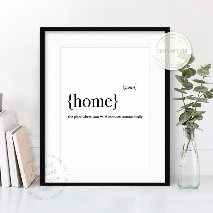 Home Dictionary Definition Meaning, PRINTABLE Wall Art