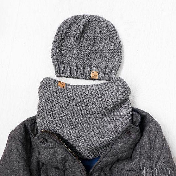 Maglia uomo inverno cappello Set / grigio e Snood / maglia regalo inverno uomo / Set di lana Merino
