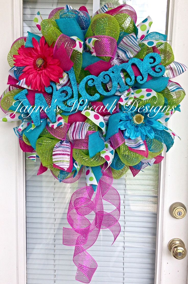 317 best welcome images on pinterest deco mesh wreaths spring summer deco mesh welcome wreath with daisies jaynes wreath designs on fb rubansaba