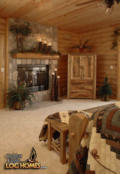 Log Home By Golden Eagle Log Homes Master Bedroom Rustic Pinterest Fireplaces My