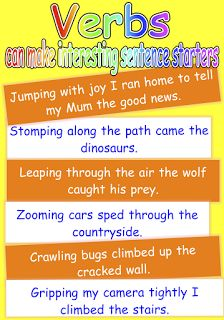 Poster to show that verbs can make great sentence starters that will add variety to children's writing. Free and printable from Classroom Treasures.