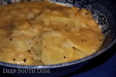 Smothered Potatoes - Sliced potatoes are tossed with onion in seasoned flour, then fried in a bit of hot oil, covered and smothered with milk for a slow simmer. Simple, delicious comfort food.