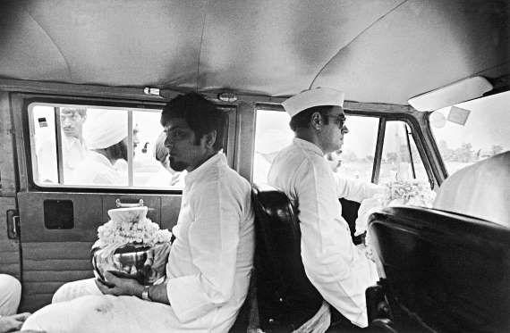 Rajiv Gandhi with Jagdish Tytler at Sanjay Gandhi's Chautha in New Delhi.
