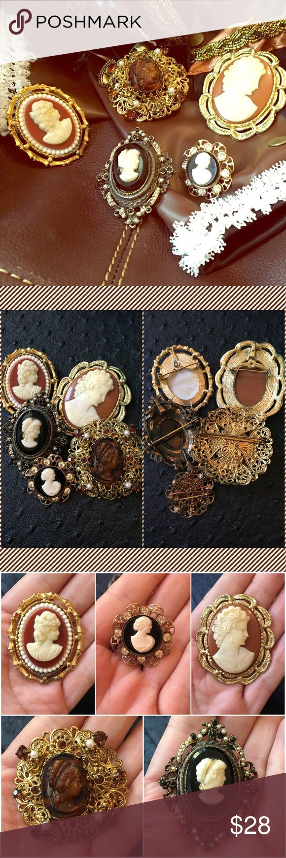 🙃 5 Vintage CAMEOS Brooch Pendant STEAMPUNK STYLE 🙃 PRICE DROP - was $28 🙃                           FIVE vintage mid-century Cameo brooches for your steampunk look or mixed media projects! These are costume jewelry made of metal, glass rhinestones, faux pearls. The large black cameo seems to be glass and porcelain - the other are plastic. All are brooches. Two cameos have bales so that they can also be worn as pendants. None have any damage or missing components except a third cameo had…