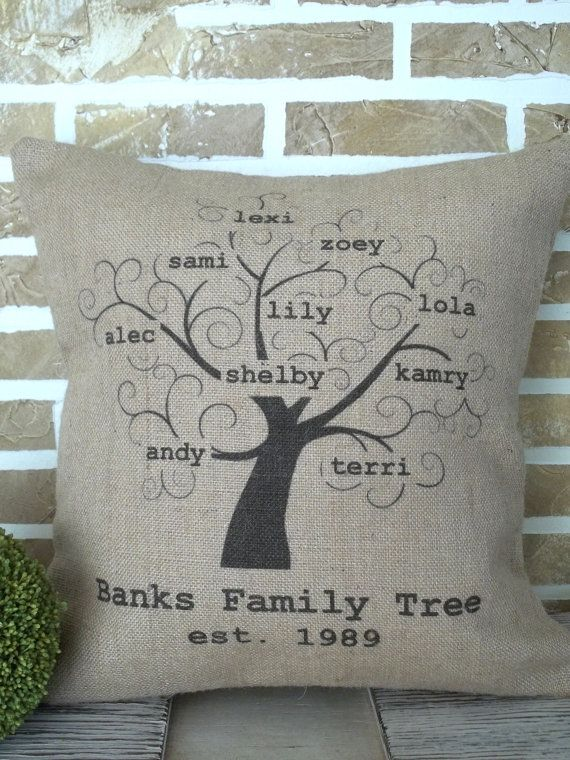 Family Tree Personalized Burlap Pillow by SimplyFrenchMarket, $45.00
