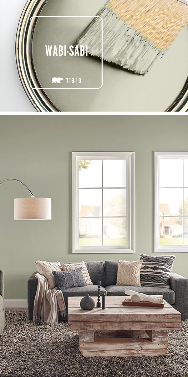 Transform your home with the light green hue of Wabi-Sabi by BEHR Paint. Use natural wood and dark gray accents to create an earthy color palette that's sure to please. Explore the rest of the BEHR 2018 Color Trends to find the perfect shade of paint for your next DIY home makeover project.
