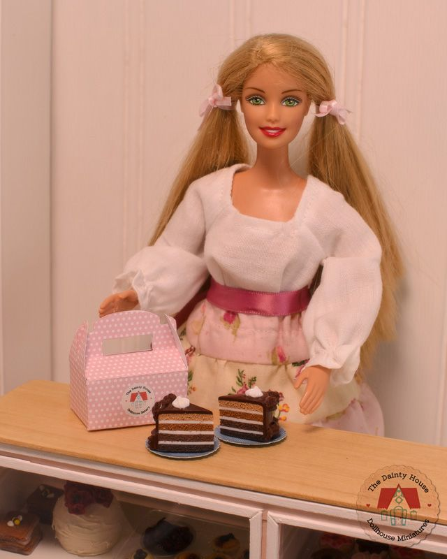 Miniature Chocolate Cake for Barbie or Blythe, 1:6th scale dollhouse desserts