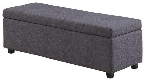 Simpli Home - Castleford Storage Ottoman Bench - Slate Gray
