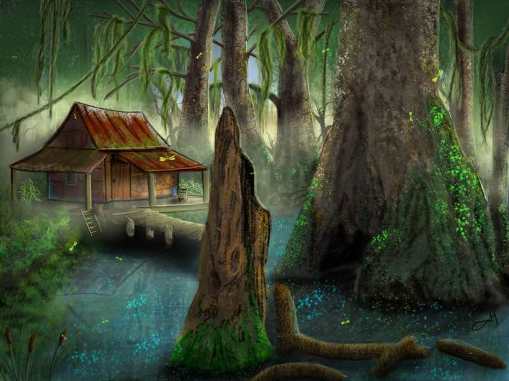 Cabin in the swamps artwork by jeannine mcmullen pinterest for Kates fish camp
