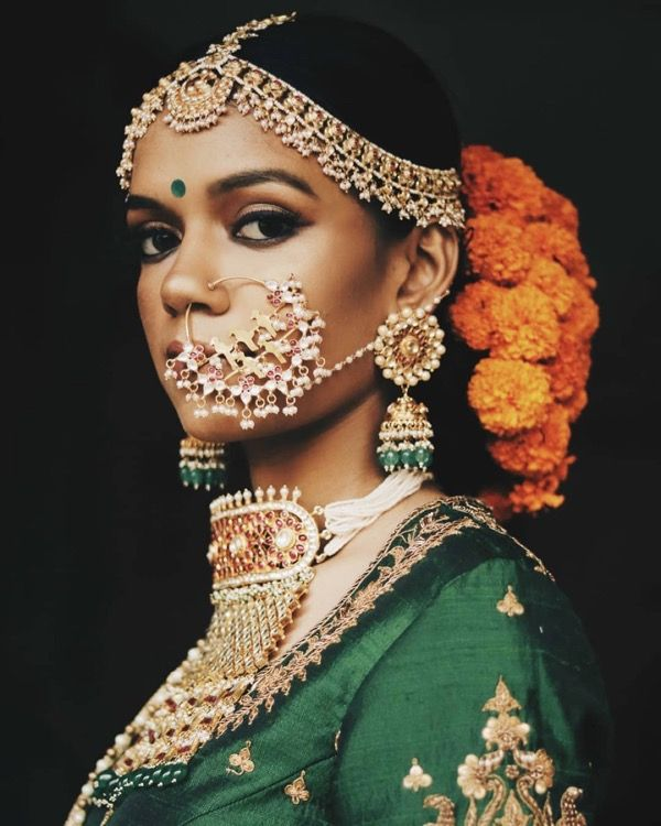 Gorgeous And Retro Indian Wedding Bridal Hairstyle