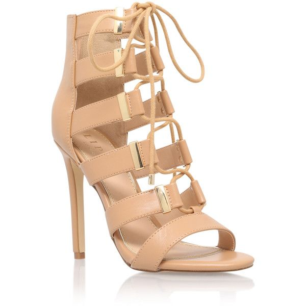 Shona Lipsy Camel ($115) ❤ liked on Polyvore featuring shoes, camel, lipsy, caged shoes, caged high heel shoes, high heel shoes and synthetic shoes